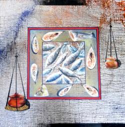 abstract, fish, fish with pots, abtsract fish
