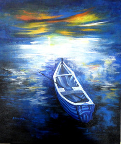 landscape, seascape, boat, boat in sea, boat in still sea