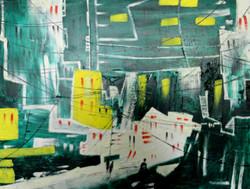 cityscape, landscape,abstract landscape, green landscape