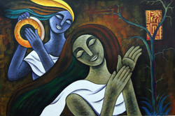 The Beat of Lord Krishna - 36in X 24in,RAJMER47_3624,Acrylic Colors,Clapping,Couple,Modern art  - Buy Paintings online in India