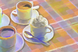 still life, coffee, coffe cups, sugar, table , coffe table