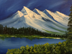 landscape, mountains, mountains with snow, trees, trees near mountains, river, river near mountain