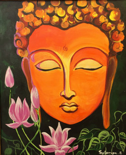 buddha, , gautam buddha, budhha with lotus, buddha with eyes closed, orange buddha,buddha with lotus