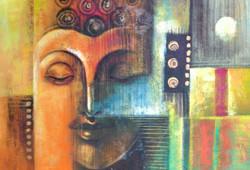 Buddha,Orange shade Buddha,Abstract Buddha