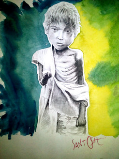 Poor With Heart - Handpainted Art Painting - 06in X 08in