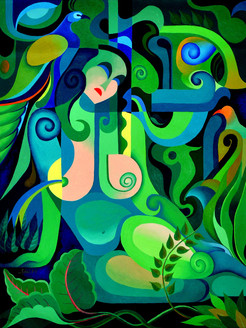 Composition 4,Abstract,Beauty Of Green,Shapes,Patterns,Design,Abstract Lady