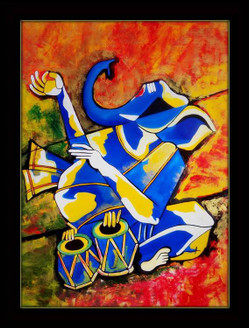 abstract , abstract art, multi color abstract, abstract ganesha, lord ganesha, ganesha with musical instrument, tabla, ganesha with tabla, music, ganpati, ganapati