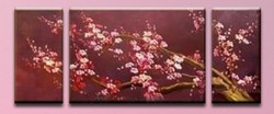 The Flow of Time 5 - 60in X 24in (Details Inside),RTCSC_41_6024,Oil Colors,Multi Piece Paintings,small red flowers,red Floral Branch,Museum Quality - 100% Handpainted - Buy Painting Online in India.