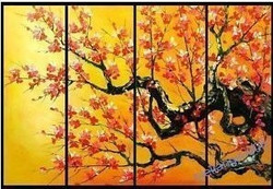 The Flow of Time 9 - 48in X 36in (Details Inside),RTCSC_43_4836,Oil Colors,Tree Life,Yellow Tree,Beauty Of Yellow Tree,Multi Piece Paintings,Museum Quality - 100% Handpainted - Buy Painting Online in India.