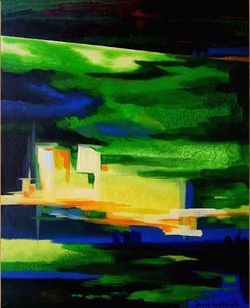 Green City - Handpainted Art Painting - 27in X 32in