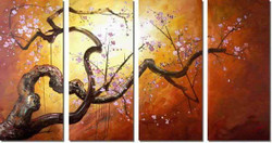 The Flow of Time 7 - 48in X 28in (Details Inside),RTCSC_56_4828,Oil Colors,Tree Life,Yellow Tree,Beauty Of Yellow Tree ,Beautiful small Flowers,Multi Piece Paintings,Museum Quality - 100% Handpainted - Buy Painting Online in India.