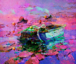 Boat Landscape 2 - Handpainted Art Painting - 32in X 27in
