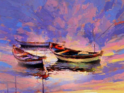 Boat Landscape 3 - Handpainted Art Painting - 32in X 24in