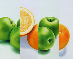 Stll Life,Fruits,Fruit Dish,Apple ,Oranges,GreenApple