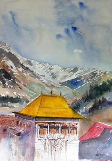 landscape, kokan, scenery, house, old house, little house, manali, snow