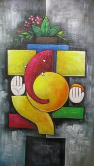 Abstract Ganesh - 15in X 26in,RAJMER55_1526,Acrylic Colors,God,Ganesha,Ganapati,Bappa,Moraya,Deva - Buy Paintings online in India