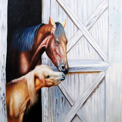Horse And Pony - Handpainted Art Painting - 32in X 32in