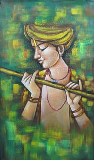 Murari - 15in X 26in,RAJMER58_1526,Acrylic Colors,Shyam,Krishna,Basari,Kanha - Buy Paintings online in India