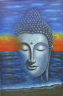 Mahanirvana 02 - 24in X 36in,RAJVEN05_2436,Acrylic Colors,Peace,Buddha,Shanti,Meditation,Buddhism - Buy Paintings online in India