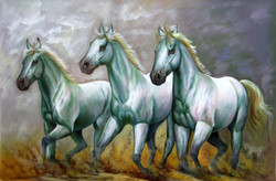 Strength and Valor05 - 36in X 24in,RAJVEN20_3624,Acrylic Colors,Race,Horses,Racing,Achiver,Riding - Buy Paintings online in India