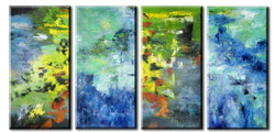 Abstract,Four Blue Abstract,Multipiece
