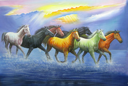 7 Good Luck Horses Rajmer03 - 36in X 24in,RAJVEN25_3624,Acrylic Colors,Horses,Graces,Race,Achiever,Racing - Buy Paintings online in India