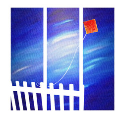 landscape, trees, forest, multi piece trees, kite, fence, kite in sky