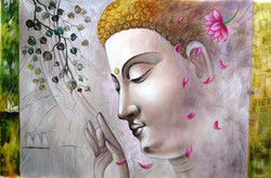 Mahanirvana 15 - 36in X 24in,RAJVEN37_3624,Acrylic Colors,Peace,Buddha,Shanti,Meditation,Buddhism - Buy Paintings online in India
