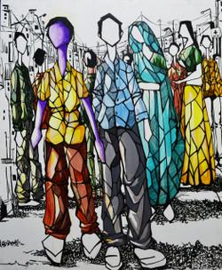 market,Modern Art, Figurative,Social Life,Crowd