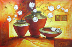 Ensemble 5 - 36in X 24in,RAJEAR21_3624,Acrylic Colors,Pottery,Vase,Beautiful Flower in Vase  - Buy Paintings online in India
