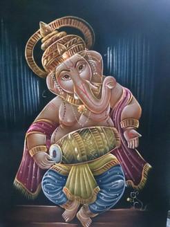 Ganesha - Handpainted Art Painting - 24in X 36in