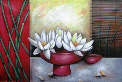 Ensemble 6 - 36in X 24in,RAJEAR22_3624,Acrylic Colors,Pottery,Vase,Beautiful Flower in Vase  - Buy Paintings online in India