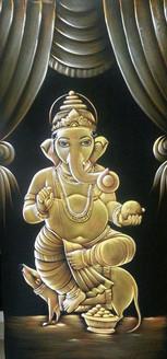 Ganesh Vandana - Handpainted Art Painting - 24in X 48in
