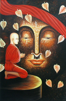 Upekkha - The Even Mindedness - 24in X 36in,RAJEAR25_2436,Acrylic Colors,Buddha,Buddhism,Meditation,Peace  - Buy Paintings online in India
