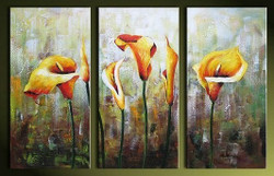 Joy - 48in x 32in (16in X 32in each X 3pcs),RTCSD_06_4832,Multipiece,Museum Quality,Abstract,Fresh,Morning,Floral,Flowers  - 100% Handpainted Buy Painting Online in India.