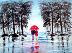 landscape, couple , romance, couple with umbrella, umbrella, man and woman, girl and boy, walkway