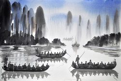 Landscape,Boats,The Boats on the River ,Water Bank,River