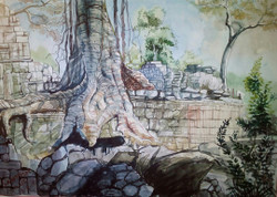 ART_SHLI,inside Athani temple,God Place,Out side view of temple,Tree,Big Banyan Tree