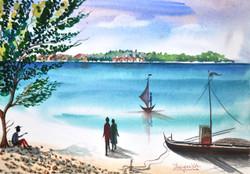 landscape, seascape, boat, beach, boat on beach,