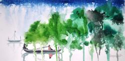 landscape, nature, river, boat, boat in river , people, scenary