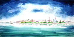 landscape, nature, river, boat, boat in river , people, scenary, scescape, city , beach