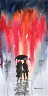 Landscape,Nature,Rainy Days,Couple,Umbrella,Tree
