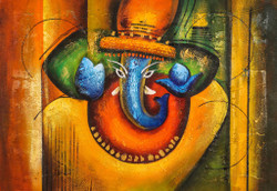 Blue Ganesha with Copper Design - Handpainted Art Painting - 36in X 24in