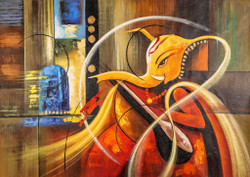 Red Ganesha with Sitar - Handpainted Art Painting - 36in X 24in