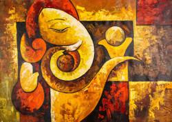Red and Orange Shade Ganesha - Handpainted Art Painting - 36in X 24in