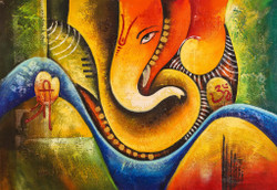 Ganesha with Golden Work - Handpainted Art Painting - 36in X 24in