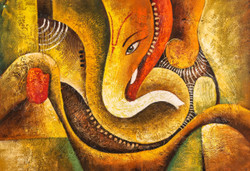 Ganesha with Red and Yellow Hands - Handpainted Art Painting - 36in X 24in