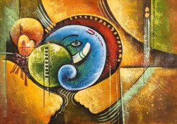 Blue Ganesha with Green Circle - Handpainted Art Painting - 36in X 24in