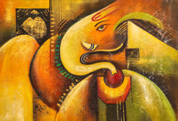 Ganesha with Green Gold Design - Handpainted Art Painting - 36in X 24in