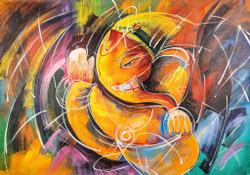 Abstract Orange Ganesha - Handpainted Art Painting - 36in X 24in